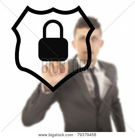 Young Man With Protection Shield Isolated On White Background