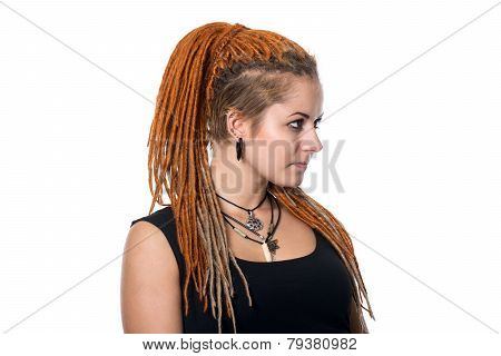 Close-up Portrait Of A Beautiful Young Cheerful Girl With Dreadlocks.