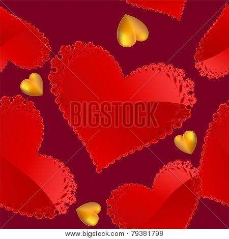 Valentine's day pattern with red and gold hearts