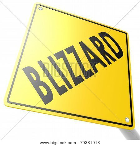 Road Sign With Blizzard