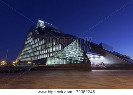 RIGA, LATVIA - OCTOBER 29, 2014: New Building of National Library of Latvia, known also as Castle of Light will be the main venue in Riga for Latvian Presidency of the Council of the European Union