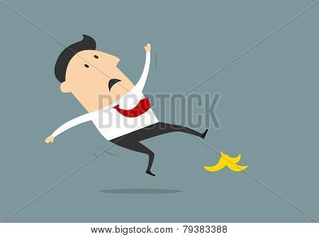 Businessman Slipping On Banana Peel In Flat Style