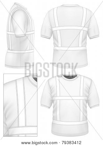 Men's reflective t-shirt (front, back, side views). Illustration contains gradient mesh. Photo-realistic vector illustration.