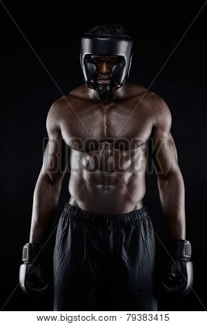 Muscular Young Man In Boxing Gear