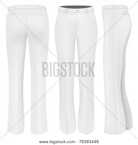 Formal trousers for women (front, back and side views). Vector illustration.
