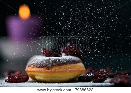 Sprinkling Chocolate Donut And Cranberries