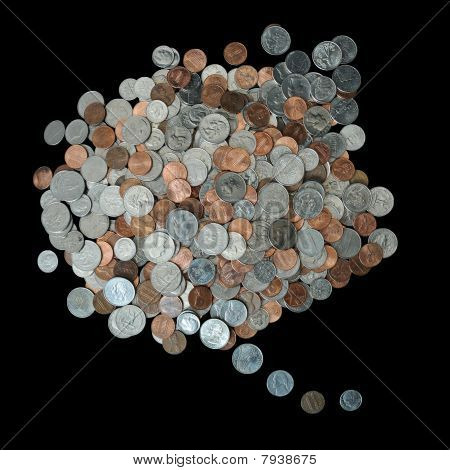 Think Bubble Made Up Of Coins