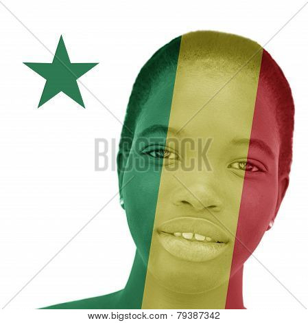 National Senegalese flag inlaid in the skin of a woman