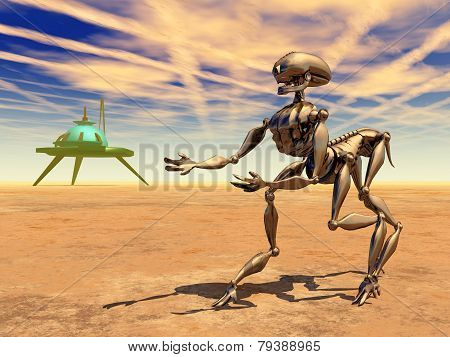 Space Station and Alien Robot in a Distant World