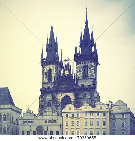 Church of Virgin Maria Before Tyn in Prague. Instagram style filtred image