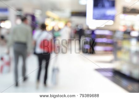 Background of duty free shop in airport out of focus