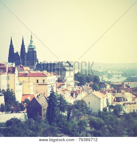 View of Prague, Chech republic. Instagram style filtred image