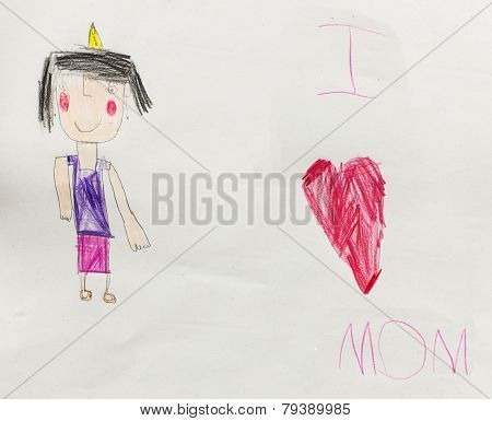 I Love Mother - Child Drawing