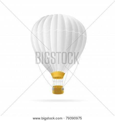 Vector white hot air ballon isolated