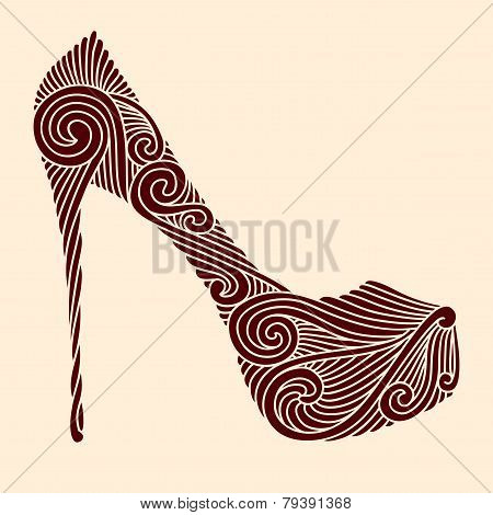 Brown Ornamental Shoe On Light Beige Background