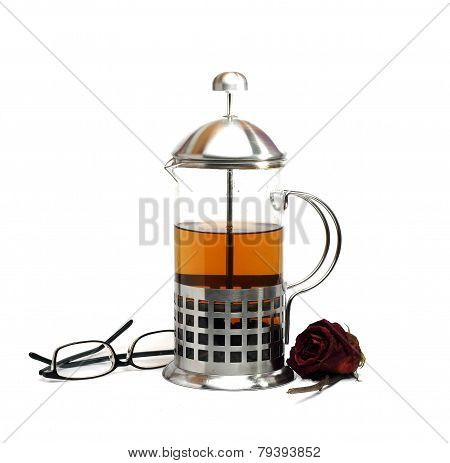 French Press, Rose And Glasses Isolated On A White