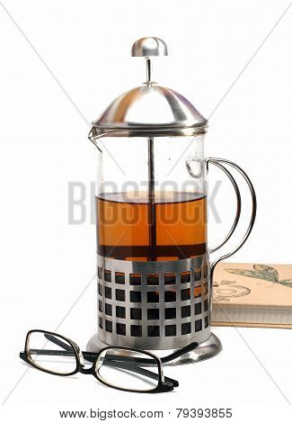 French Press And Glasses Isolated On A White