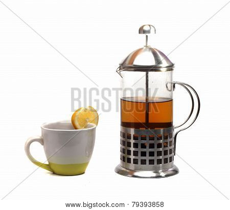 French Press And Cup Of Tea On A White Background