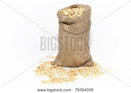 Bag Of Pea Grains. Peas.