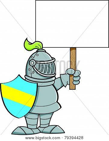Cartoon knight holding a sign.