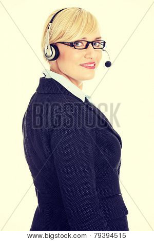 Mature call center worker portrait