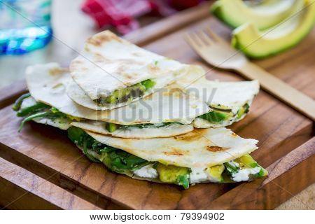 Goat Cheese And Avocado Quesdilla
