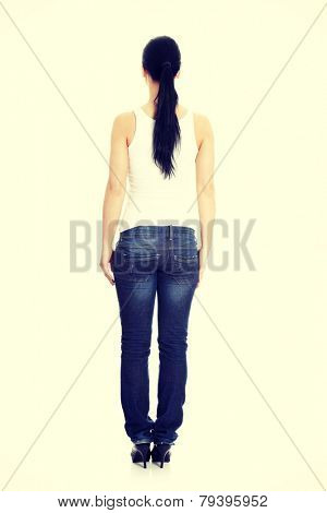 Rear view of young casual woman