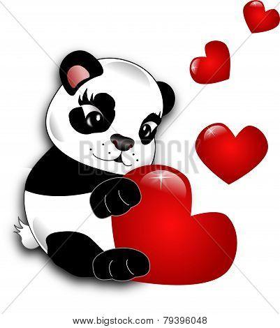 Panda With Hearts