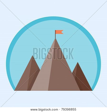 Flat vector mountain peak with flag