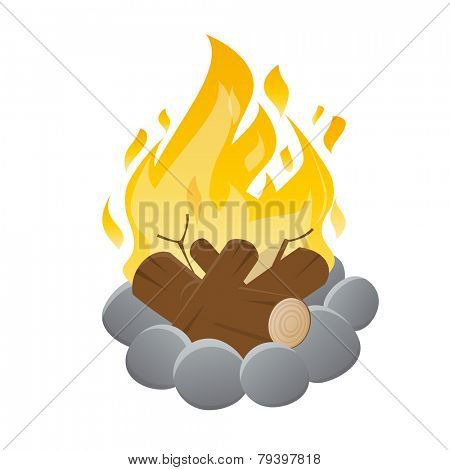 vector illustration of an isolated campfire