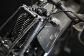 picture of suspension  - Color horizontal shot of a vintage motorcycle front suspension - JPG