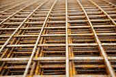 picture of reinforcing  - at a construction site are steel mesh to reinforce the bentonplatten - JPG