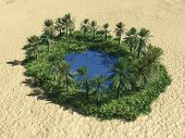 stock photo of oasis  - oasis in the desert in birdseye view - JPG