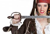 stock photo of wench  - Sexy halloween female woman wearing pirate costume - JPG