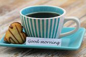 picture of morning  - Good morning card with cup of coffee and heart shaped biscuit - JPG