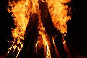 picture of flames  - Fire logs in flame - JPG