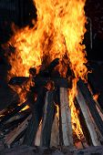 image of flame  - Fire logs in flame - JPG