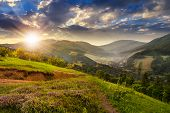 image of mountain sunset  - composite mountain landscape - JPG