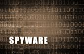stock photo of spyware  - Spyware on a Digital Binary Warning Abstract - JPG