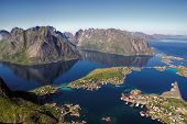stock photo of reining  - Scenic aerial view of town Reine and surrounding fjords on Lofoten islands - JPG