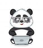 stock photo of pandas  - Clipart picture of a panda cartoon character with laptop - JPG