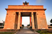 "foto of saharan  - The Independence Arch of Independence Square of Accra Ghana at sunset. Inscribed with the words ""Freedom and Justice AD 1957"" commemorates the independence of Ghana a first for Sub Saharan Africa.