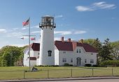 stock photo of cape-cod  - Chatham Lighthouse in Cape Cod on a clear day - JPG