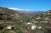picture of arena  - Countryside near Arenas with the snow capped mountains to rear Arenas Malaga Province Andalusia Spain Western Europe - JPG