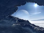 stock photo of unnatural  - Extraterrestrial scenery of icy world orbiting giant planet with rings - JPG