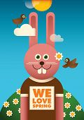 picture of wild-rabbit  - Illustrated spring poster with funny rabbit - JPG