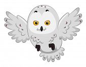 stock photo of snowy owl  - Illustration of a Snowy Owl in the Middle of Flying - JPG
