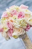 stock photo of trillium  - The bouquet with roses for wedding ceremony - JPG