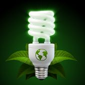 stock photo of light-bulb  - 3d render of a glowing white energy saving light bulb surrounded by leafs - JPG