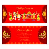 foto of dhol  - vector illustration of Indian wedding invitation card - JPG